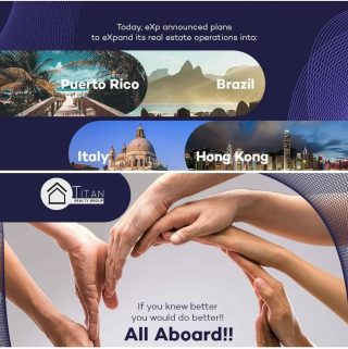 Did you hear the news? eXp Realty will soon be expanding operations to Puerto Rico, Brazil, Italy, and Hong Kong! 🇵🇷 🇧🇷 🇮🇹 🇭🇰 What an exciting time to join Titan and expand with us! Learn more about us on our new website: titanrealtygroup.org/ #TitanNation #exprealtyproud #agentobsessed #Titanrealtygroup #titanexp #expi #retirement #wealthmindset #wealthbuilding #realestateagent #agentowned #dothemath #itsjustmath #gotstock #workwiththebest