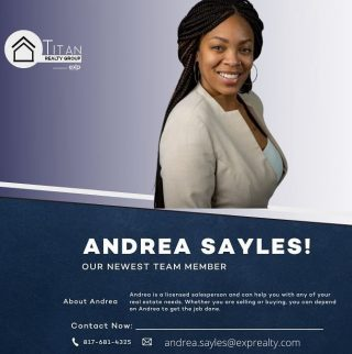 🚨🚨SPECIAL ANNOUNCEMENT🚨🚨 The Titan Realty Group brokered by eXp Realty would like to welcome Andrea Sayles to the team‼️Andrea will be partnering with the fastest growing brokerage in the World 🌎 To say we're honored to be in business with you on this new adventure is an understatement‼️ Be sure to follow Andrea online as she works to bless others with home ownership. God is good‼️ #titanrealtygroup #titanexp #workwiththebest #titanstrong #titanup #agentfreedom #revenueshare #exprealtyproud #exprealty #coaching #mentoring #gotstock #expi #retirement #wealthmindset #wealthbuilding #realestateagent #agentowned #DoTheMath #educator #agentobsessed